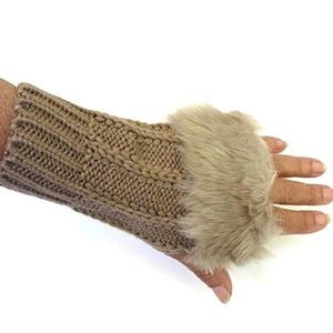 Knit Fingerless Gloves with Faux Fur Taupe NWT